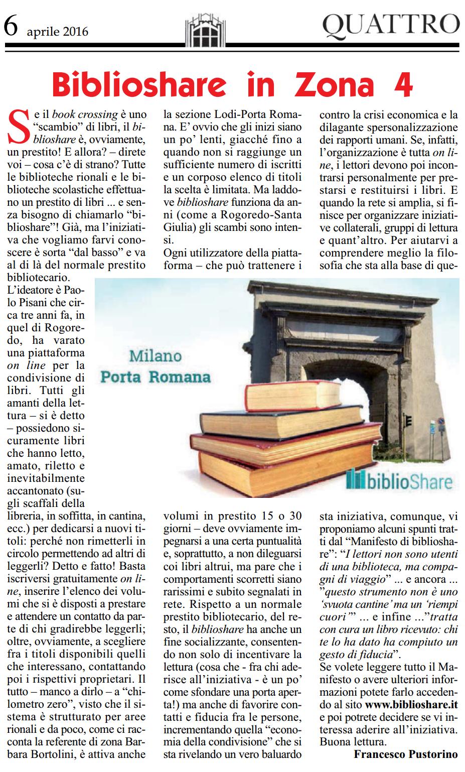 Quattro su Milano Porta Romana